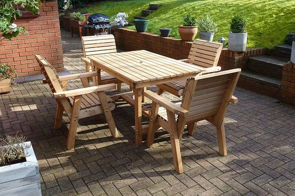Wooden 4 Seat Table and Chair Set